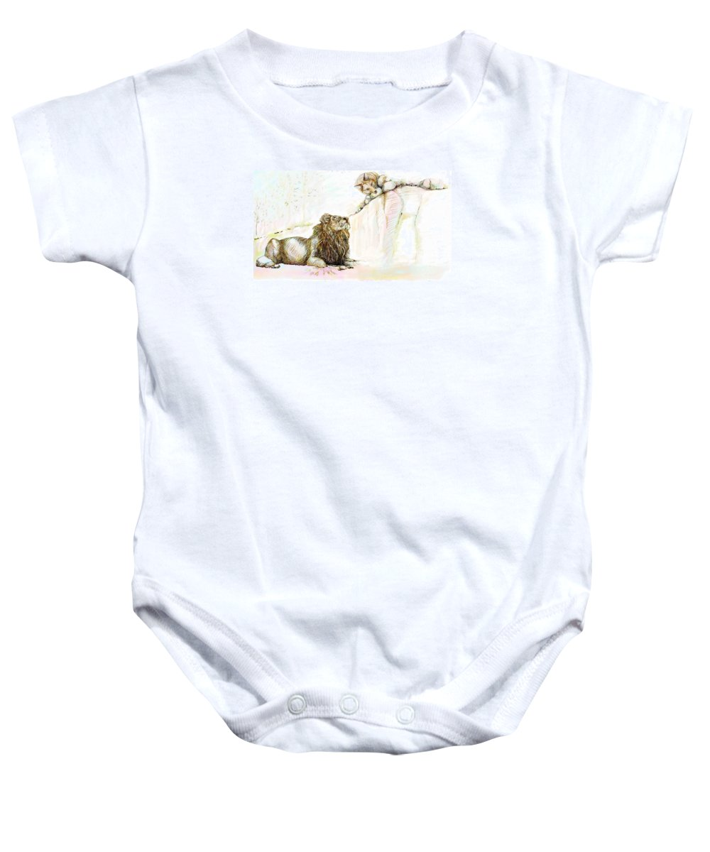 Lion Baby Onesie featuring the painting The Lion And The Fox 1 - The First Meeting by Sukalya Chearanantana