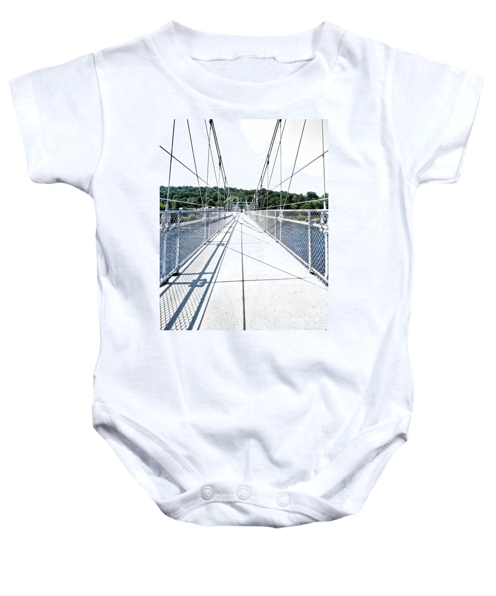 The Lumberville Raven Rock Bridge Baby Onesie featuring the photograph The Lumberville Raven Rock Bridge by Tom Gari Gallery-Three-Photography