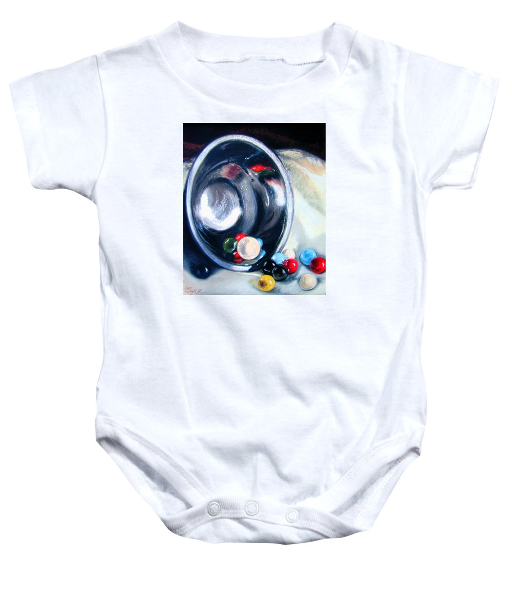 Marbles Baby Onesie featuring the pastel The Marble Bowl by Leyla Munteanu
