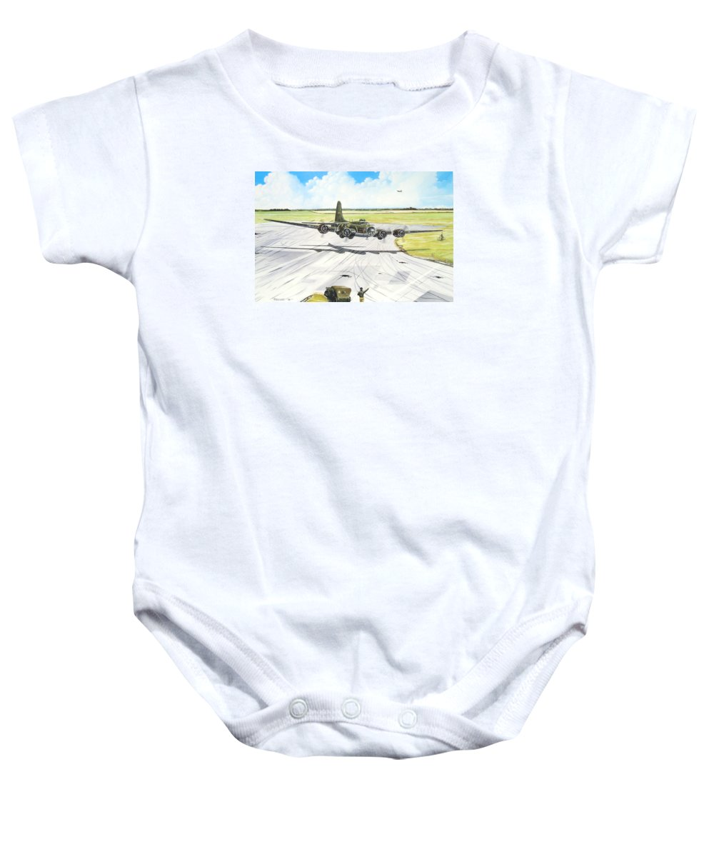 Military Baby Onesie featuring the painting The Memphis Belle by Marc Stewart
