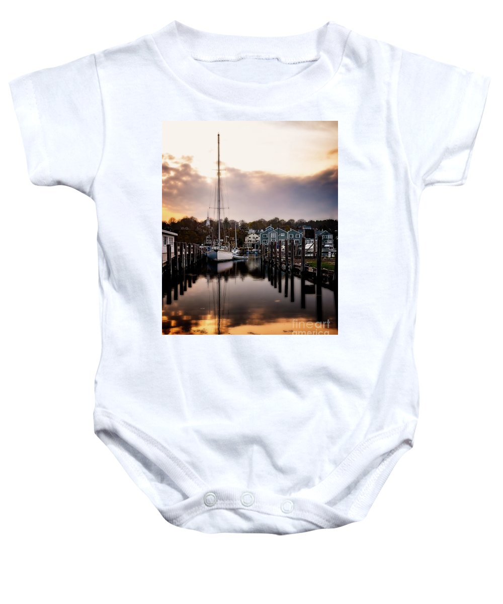 Ship Baby Onesie featuring the photograph The Mooring by Michael Riha