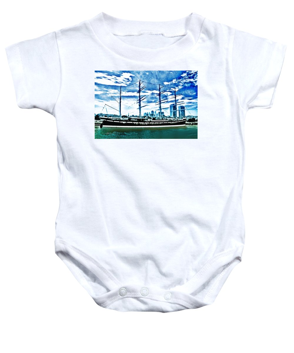 Moshulu Baby Onesie featuring the photograph The Moshulu by Bill Cannon