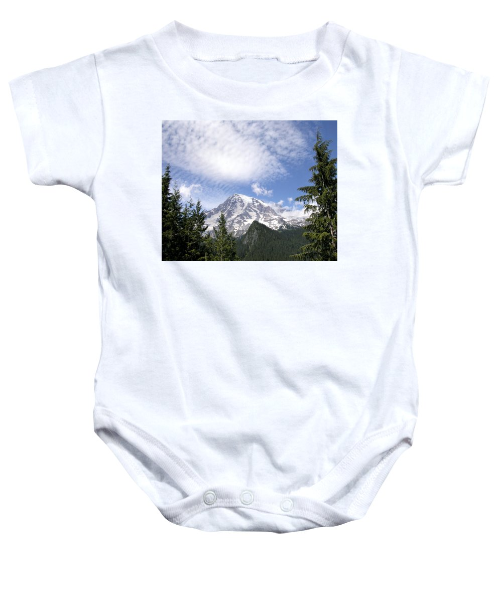 Mountain Baby Onesie featuring the photograph The Mountain Mt Rainier Washington by Michael Bessler
