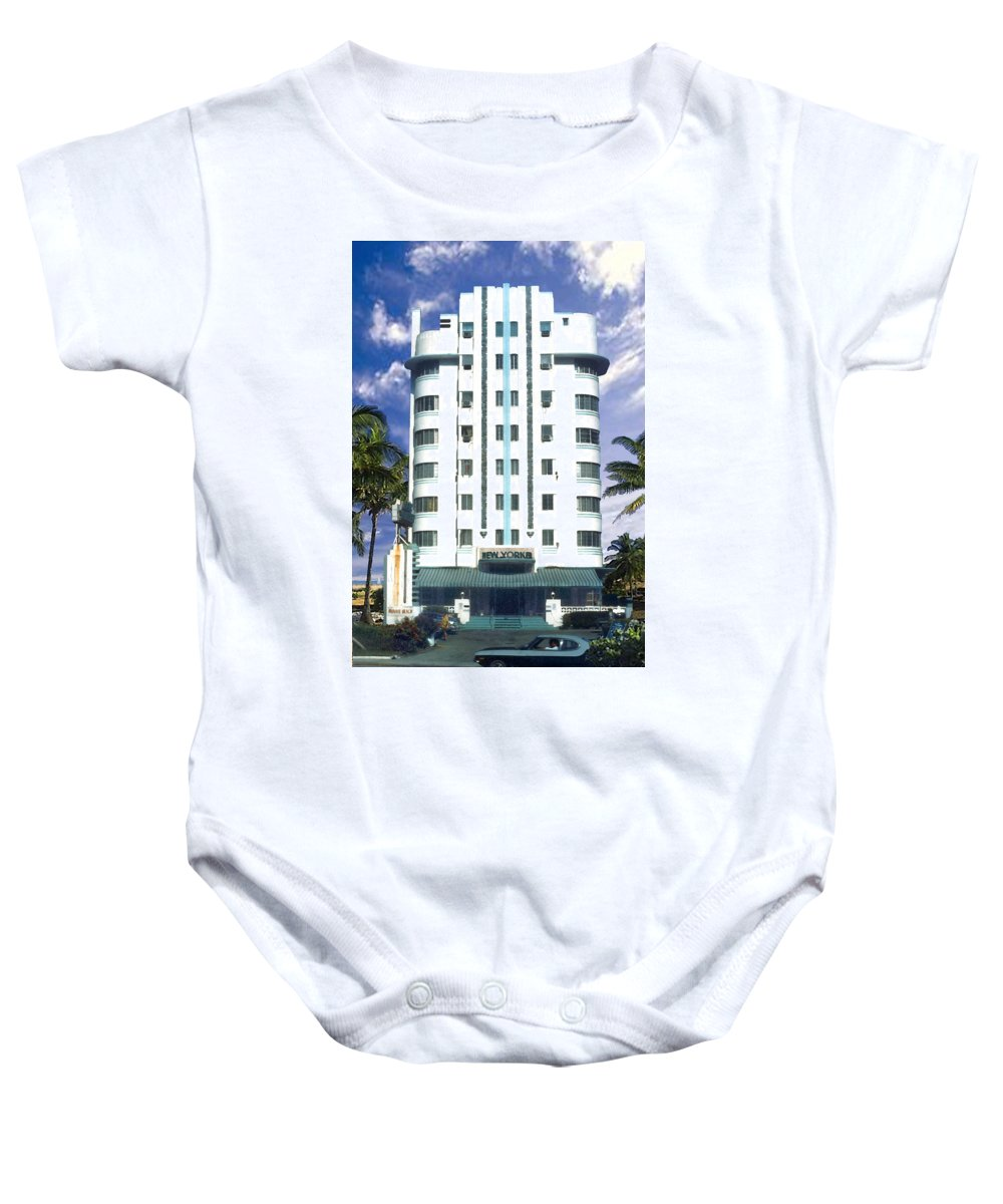 Miami Baby Onesie featuring the photograph The New Yorker by Steve Karol