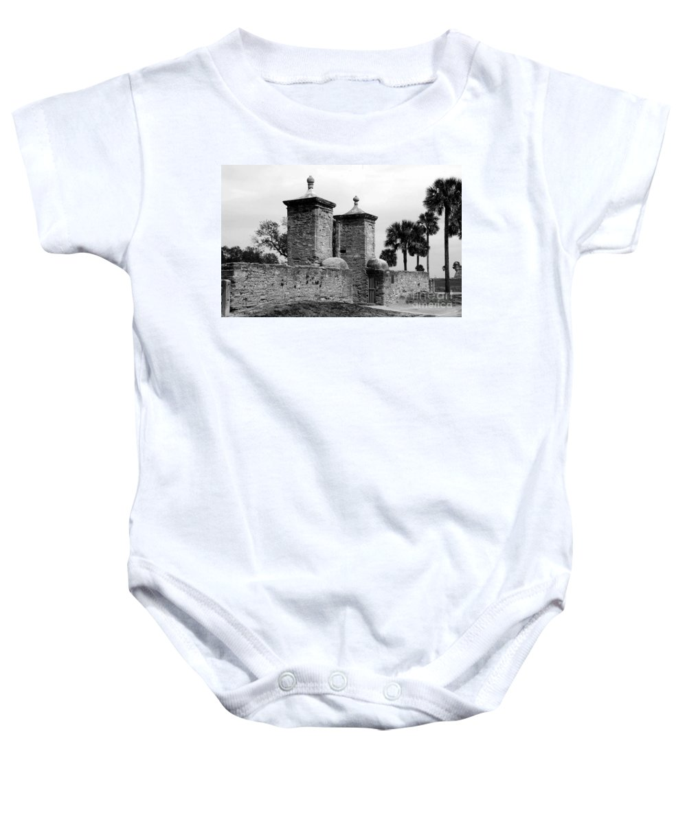 Saint Augustine Florida Baby Onesie featuring the photograph The Old City Gates by David Lee Thompson