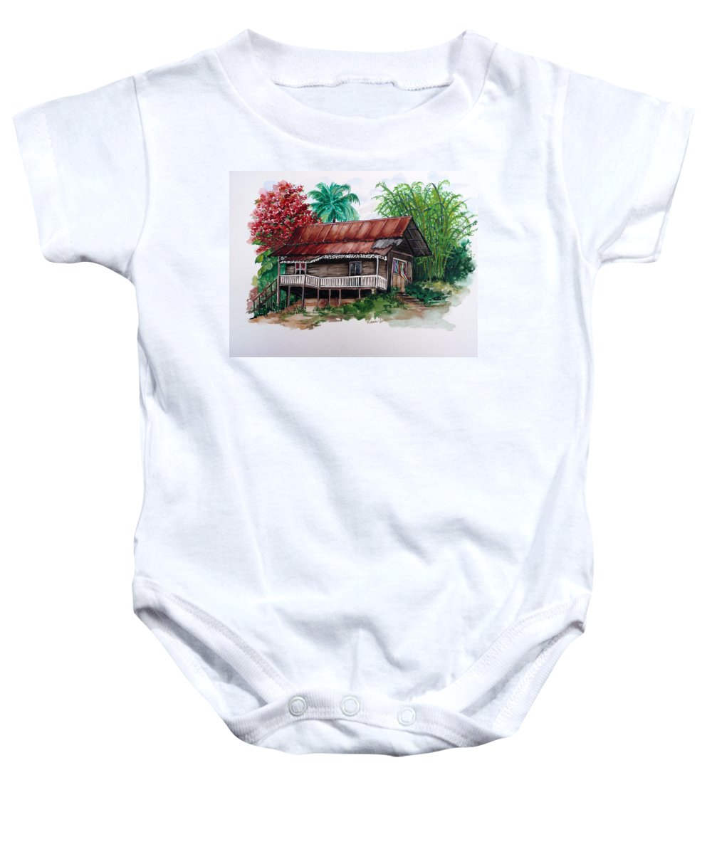 Tropical Painting Poincianna Painting Caribbean Painting Old House Painting Cocoa House Painting Trinidad And Tobago Painting  Tropical Painting Flamboyant Painting Poinciana Red Greeting Card Painting Baby Onesie featuring the painting The Old Cocoa House by Karin Dawn Kelshall- Best