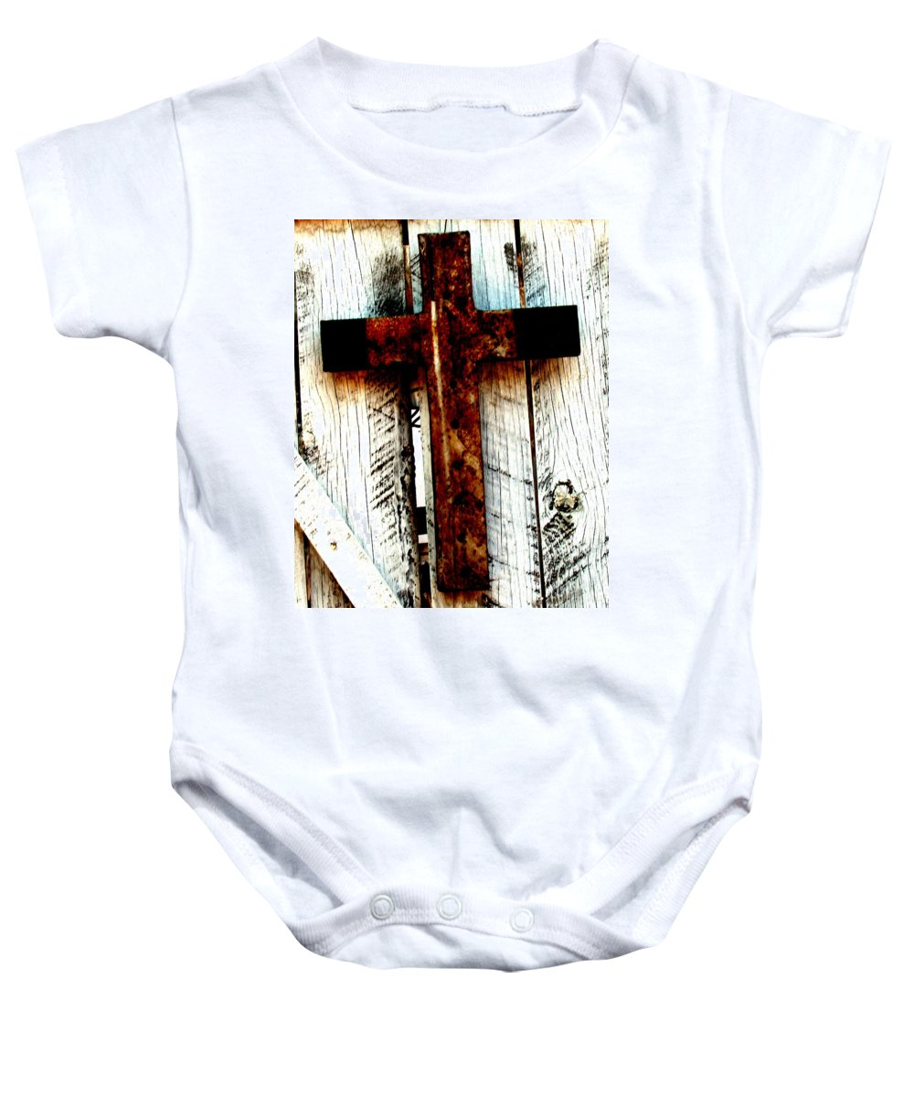 Cross Baby Onesie featuring the photograph The Old Rusted Cross by Wayne Potrafka