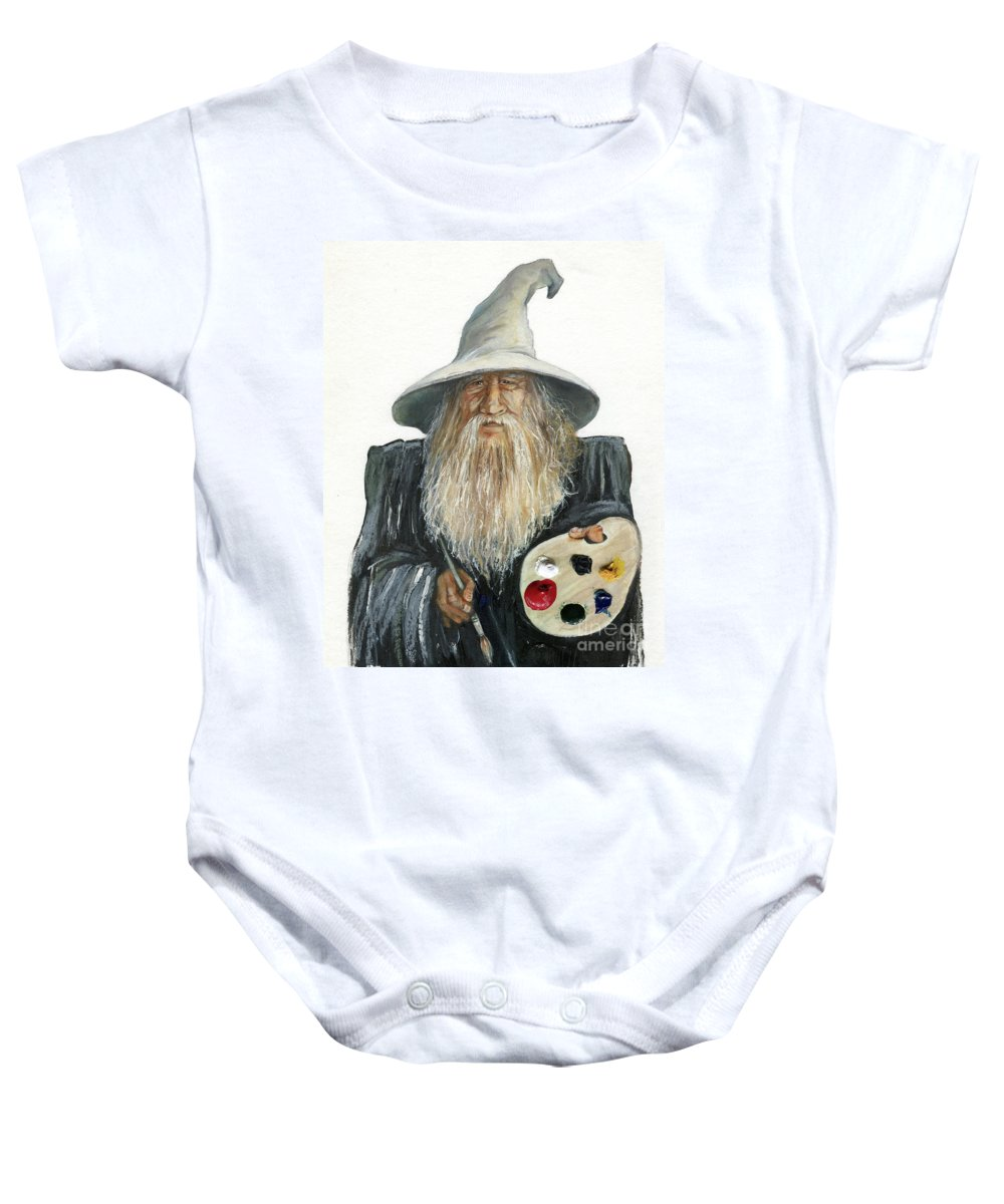 Wizard Baby Onesie featuring the painting The Painting Wizard by J W Baker