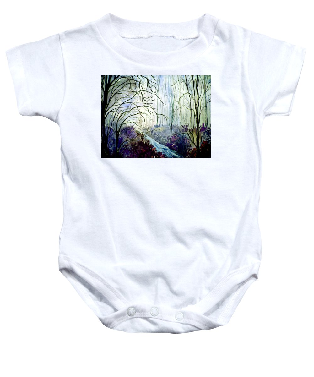 Watercolor Baby Onesie featuring the painting The Path by Brenda Owen
