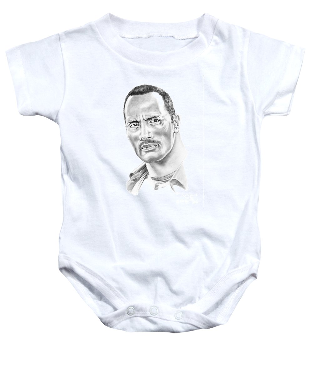 Pencil Baby Onesie featuring the drawing The Roc  Dwain Johnson by Murphy Elliott
