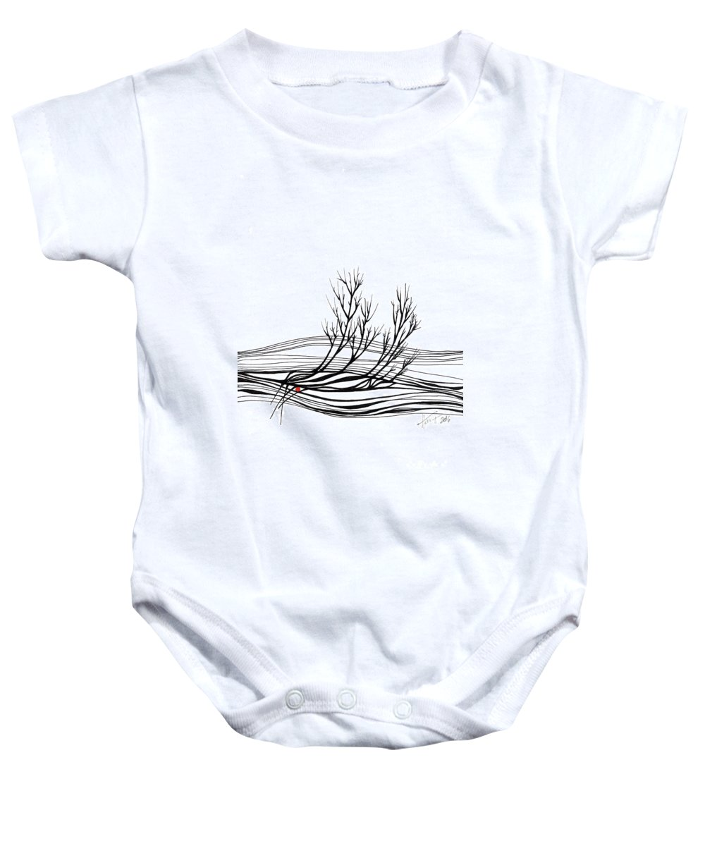 Trees Baby Onesie featuring the drawing The Seed by Aniko Hencz