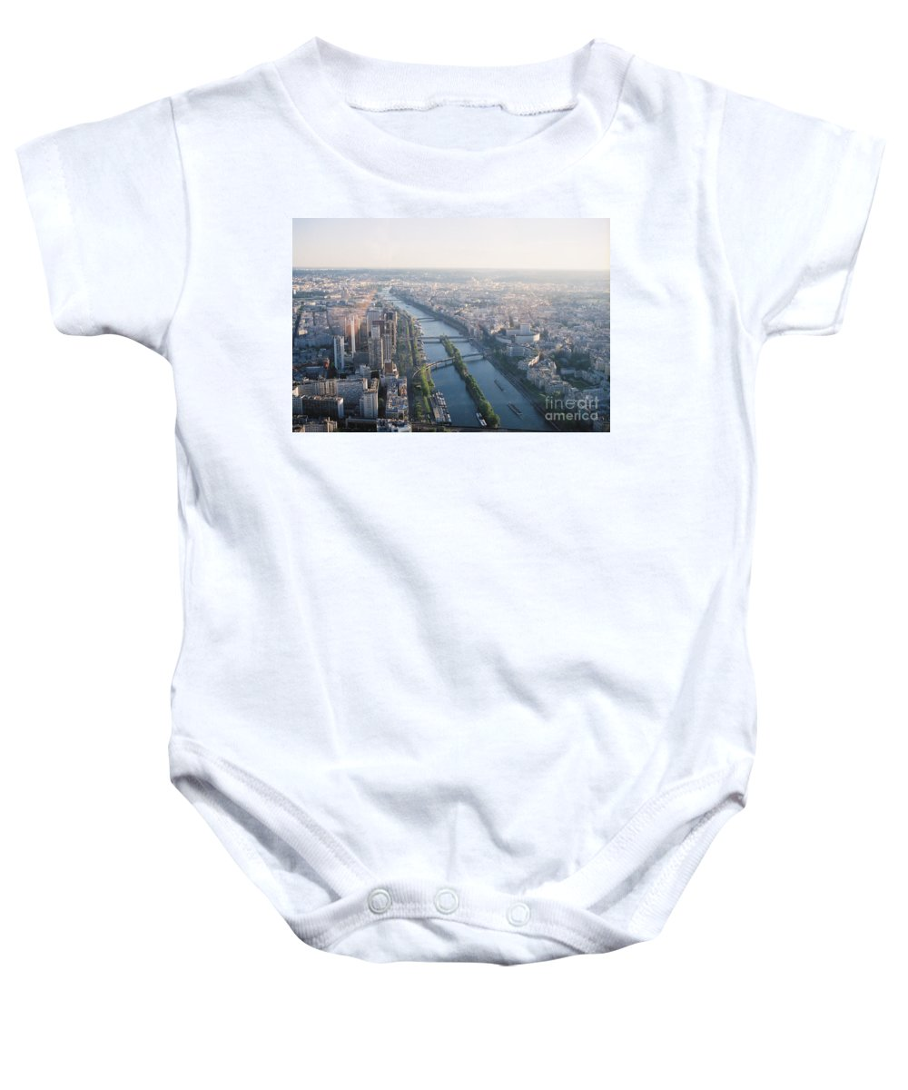 City Baby Onesie featuring the photograph The Seine River In Paris by Nadine Rippelmeyer
