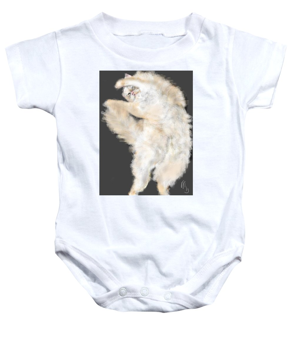 Cat Baby Onesie featuring the painting The Stretching Cat by Lois Ivancin Tavaf
