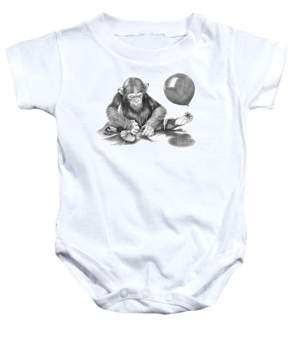 Pencil Baby Onesie featuring the drawing The String Theory by Murphy Elliott