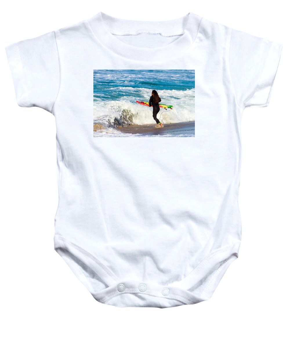 Surfer Baby Onesie featuring the photograph The Surf Is Up by Ben Graham