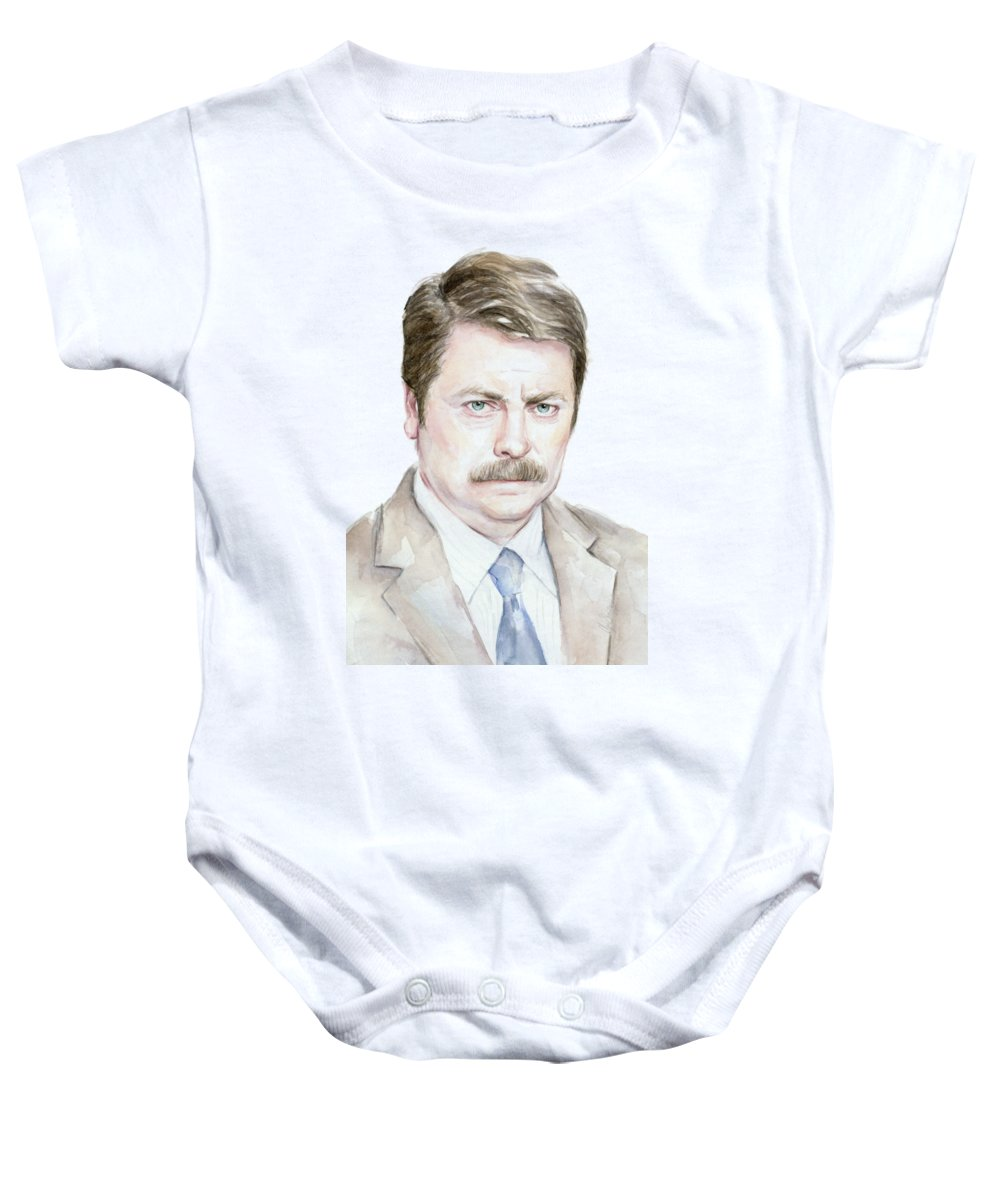 Swanson Baby Onesie featuring the painting Ron Swanson Watercolor Portrait by Olga Shvartsur