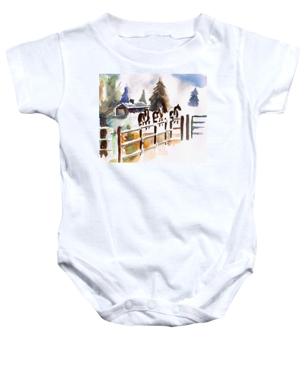 Horses Baby Onesie featuring the painting The Three Amigos by Frances Marino