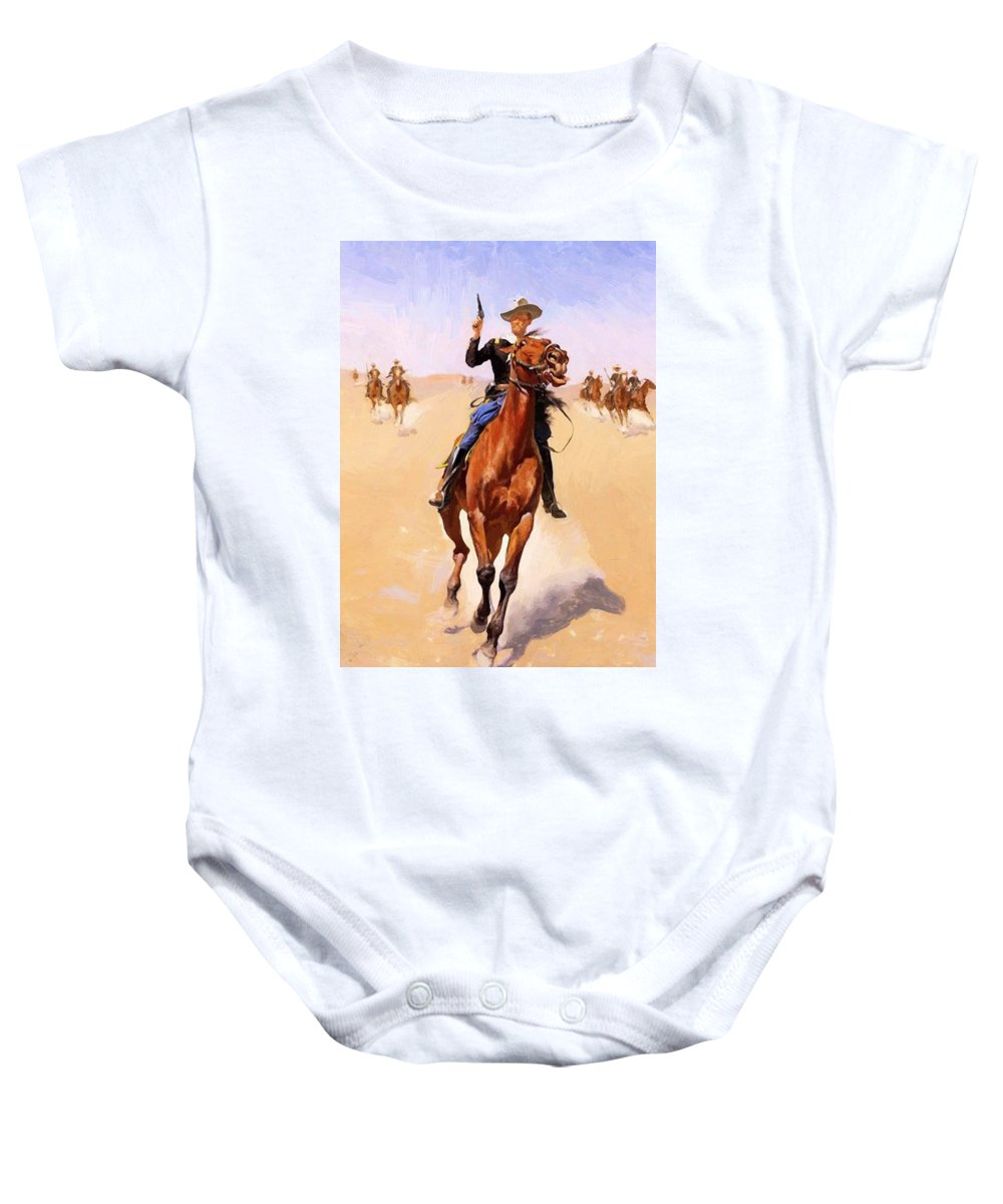 The Baby Onesie featuring the painting The Trooper 1892 by Remington Frederic