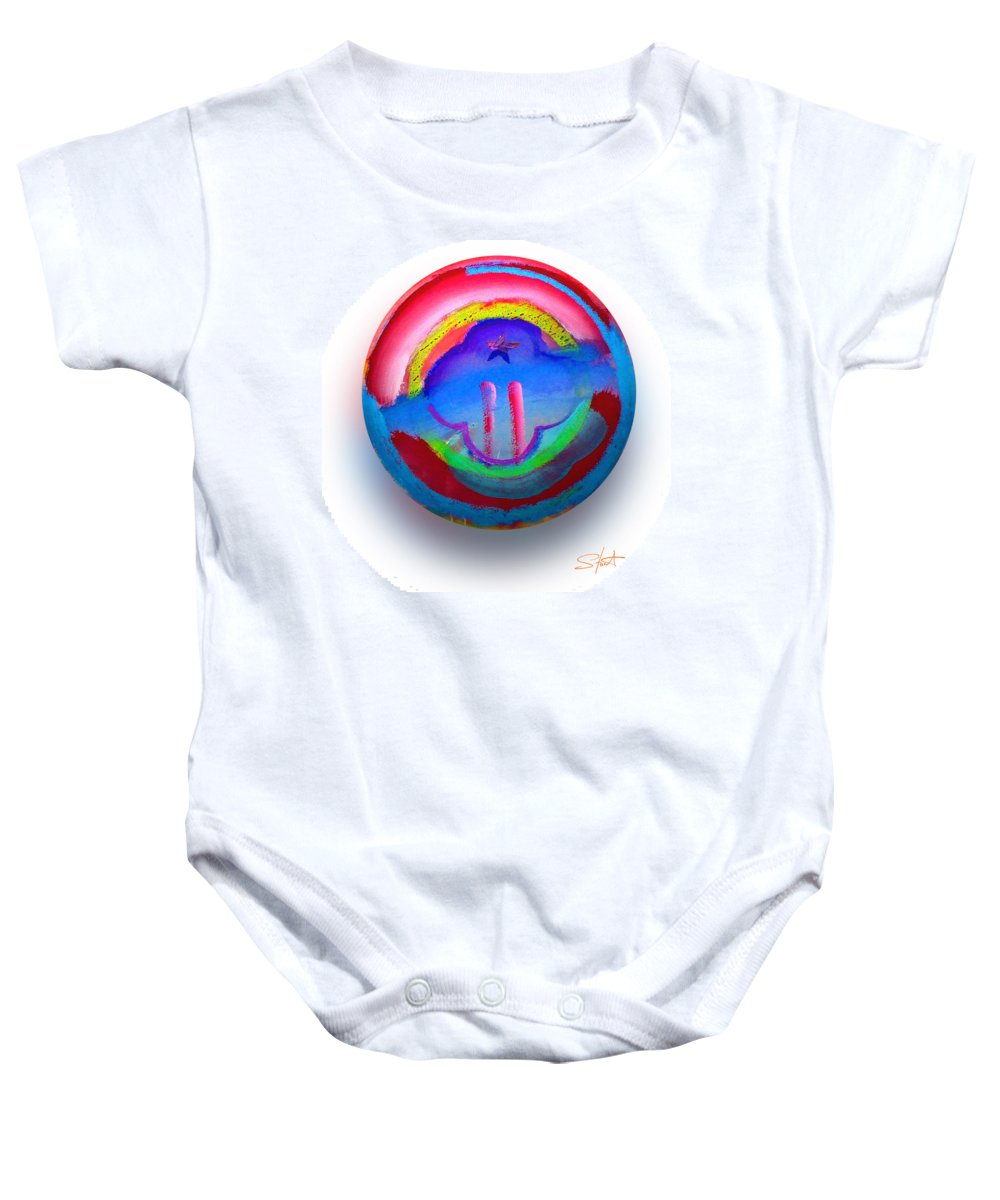 9/11 Baby Onesie featuring the painting The Two Towers by Charles Stuart
