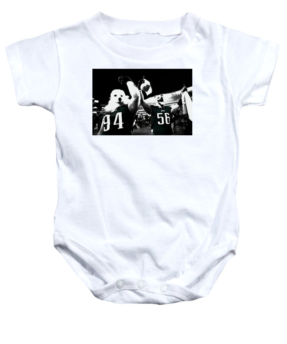 Beau Allen Baby Onesie featuring the mixed media The Under Dogs Philadelphia Eagles by Brian Reaves