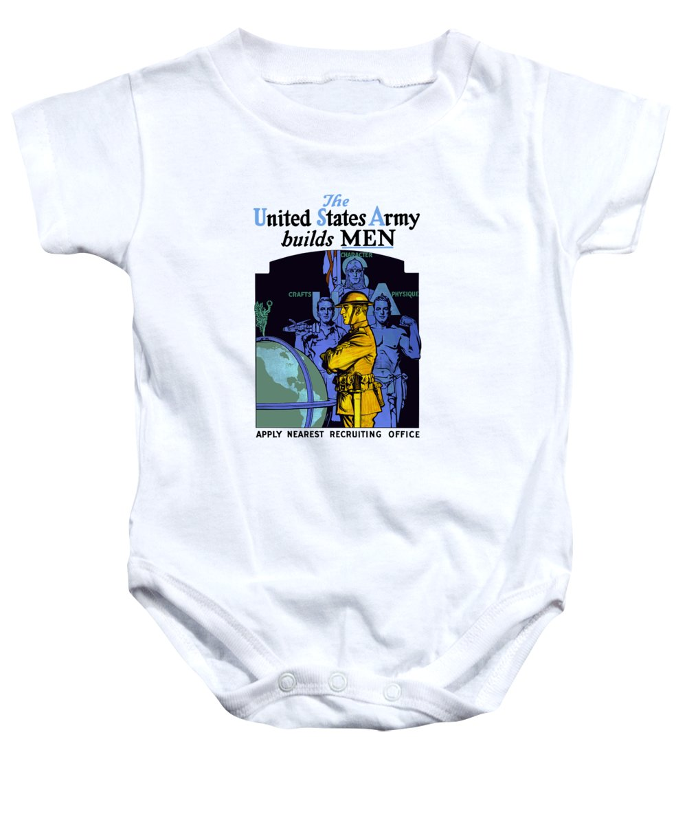 Us Army Baby Onesie featuring the painting The United States Army Builds Men by War Is Hell Store