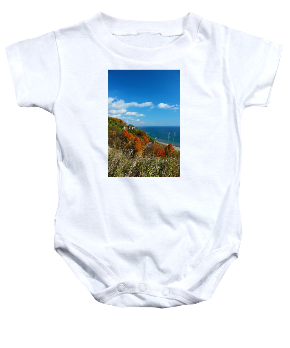 Scarborough Baby Onesie featuring the photograph The View - Scarborough Bluffs by Spencer Bush