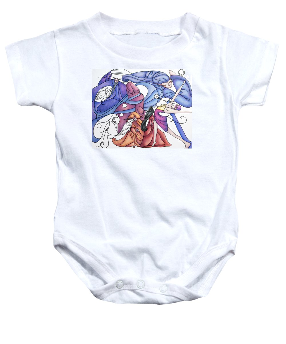 Wizard Baby Onesie featuring the painting The Wizards Daughter by Judy Henninger