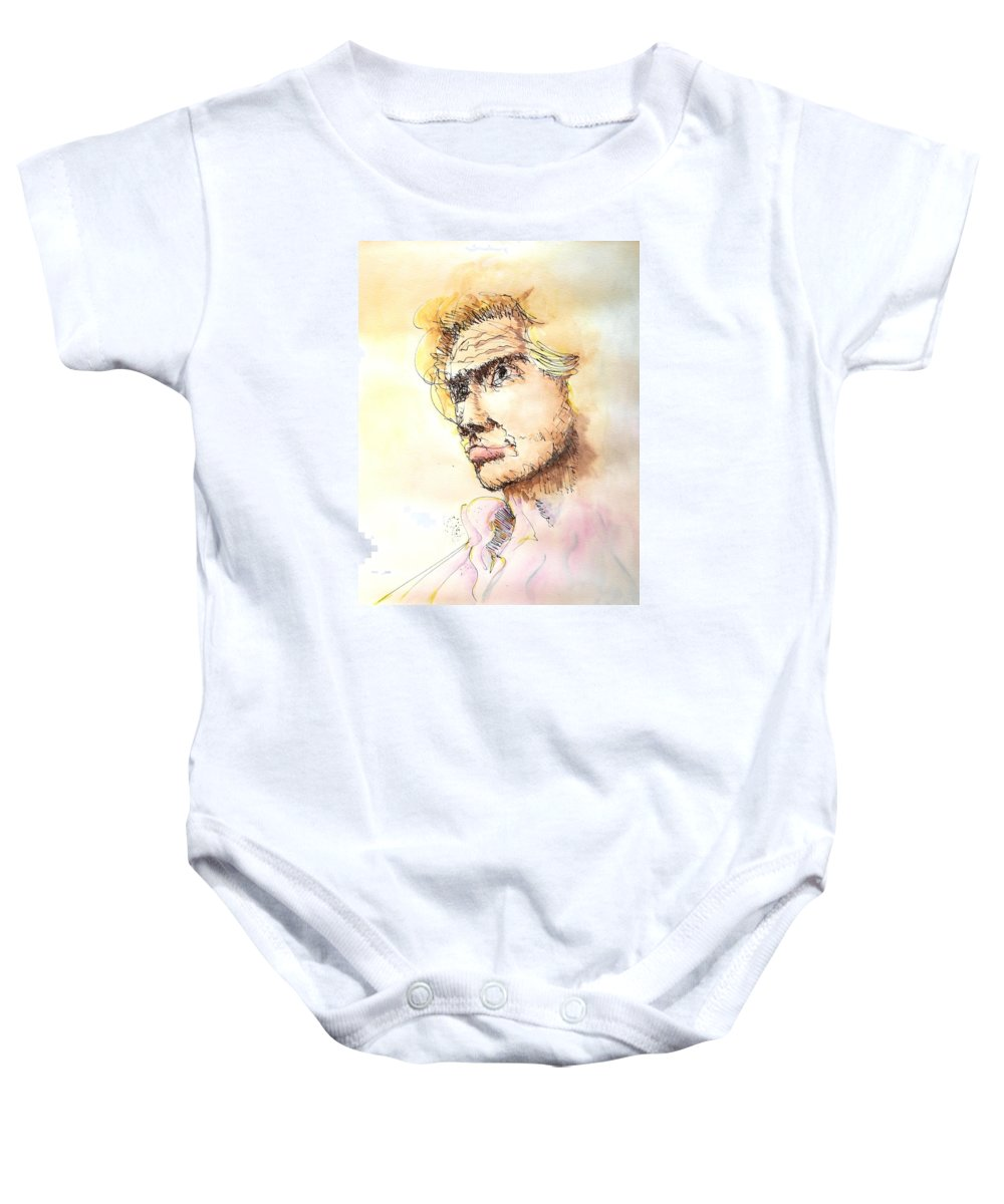 Man Baby Onesie featuring the painting The Young Prince by Dave Martsolf