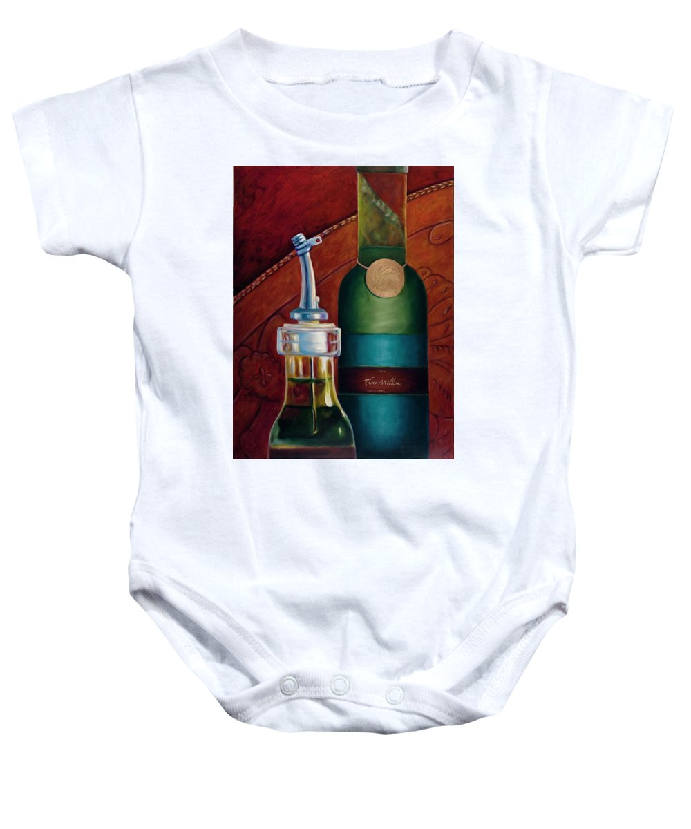 Olive Oil Baby Onesie featuring the painting Three Million Net by Shannon Grissom