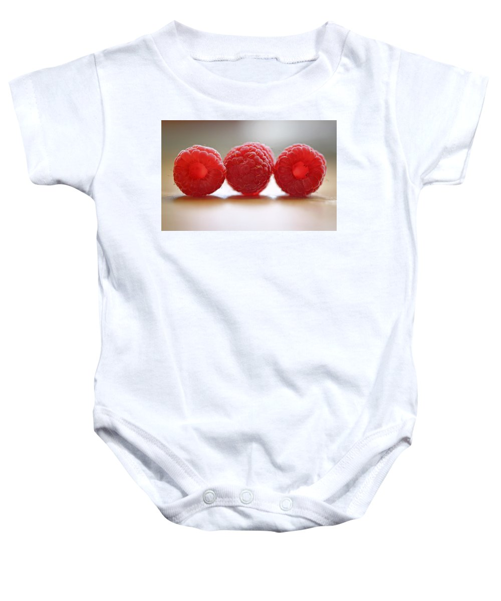 Raspberry Baby Onesie featuring the photograph Three's Company by Evelina Kremsdorf