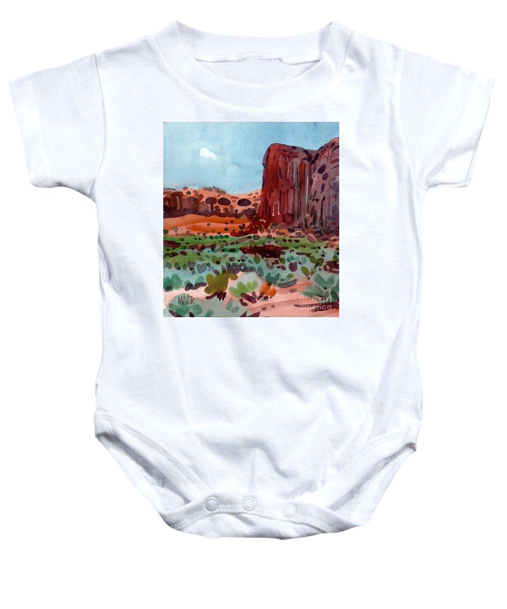 Thunderbird Butte Baby Onesie featuring the painting Thunderbird Butte by Donald Maier