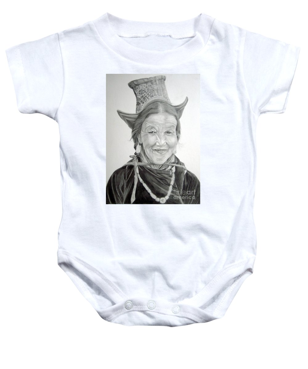 Figurative Art Baby Onesie featuring the drawing Tibetan Delight by Portraits By NC
