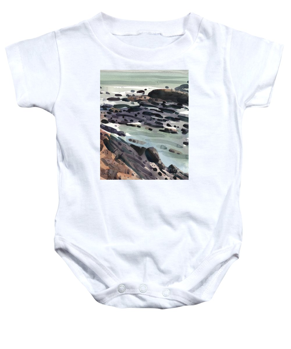 Pacific Coast Baby Onesie featuring the painting Tidal Pools by Donald Maier