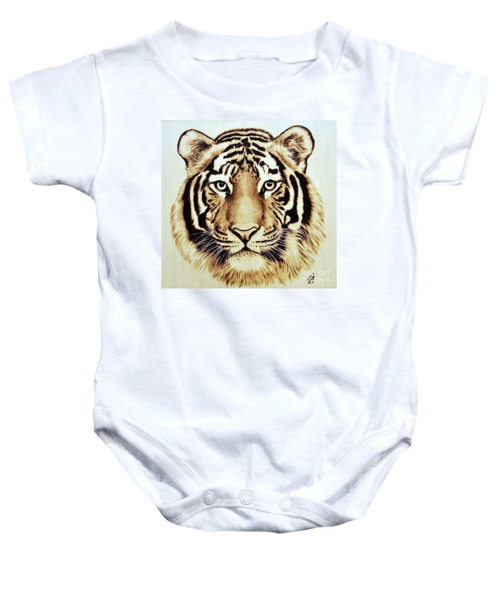 Tiger Baby Onesie featuring the pyrography Tiger by Ilaria Andreucci