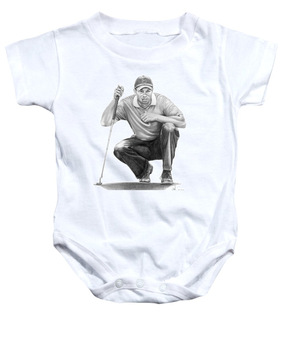 Pencil Baby Onesie featuring the drawing Tiger Woods Crouching Tiger by Murphy Elliott
