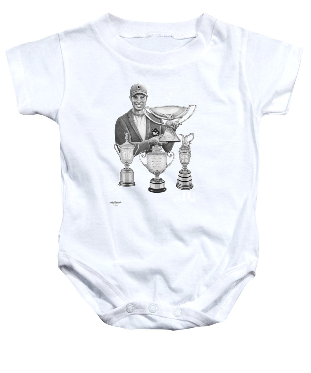 Tiger Woods Baby Onesie featuring the drawing Tiger Woods-decades Best by Murphy Elliott