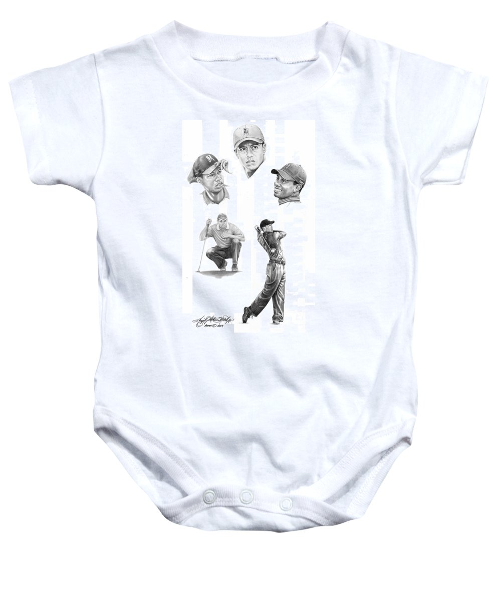 (tiger Woods) Baby Onesie featuring the drawing Tiger Woods- Full Circle by Murphy Elliott