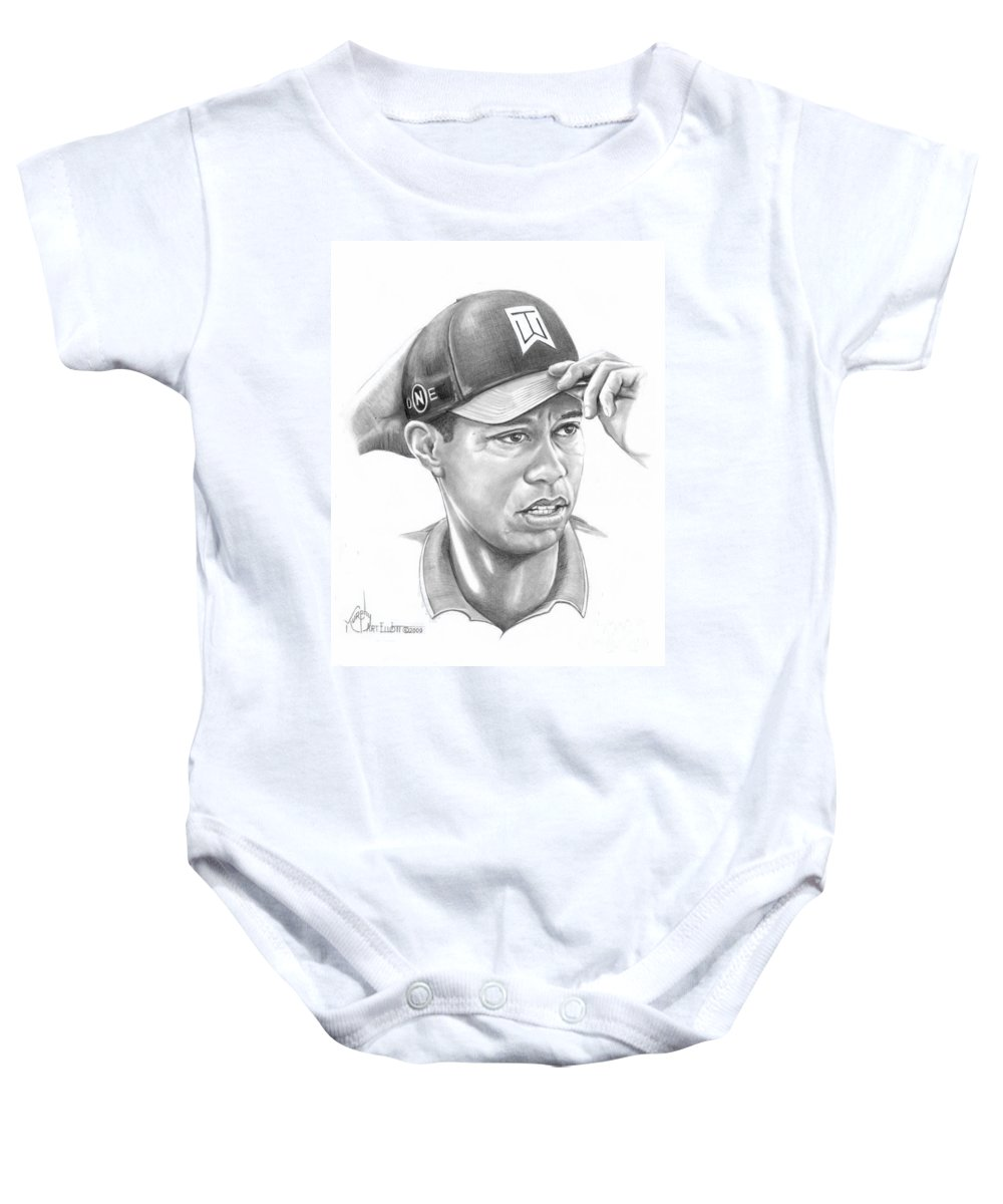 Tiger Woods Baby Onesie featuring the drawing Tiger Woods Game On by Murphy Elliott