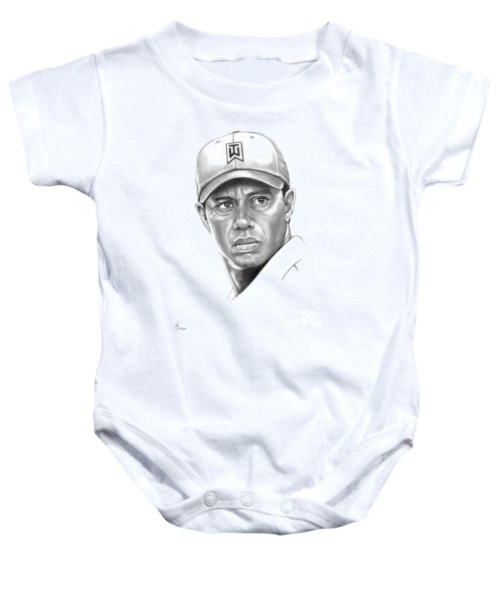 Tiger Woods Baby Onesie featuring the drawing Tiger Woods by Murphy Elliott