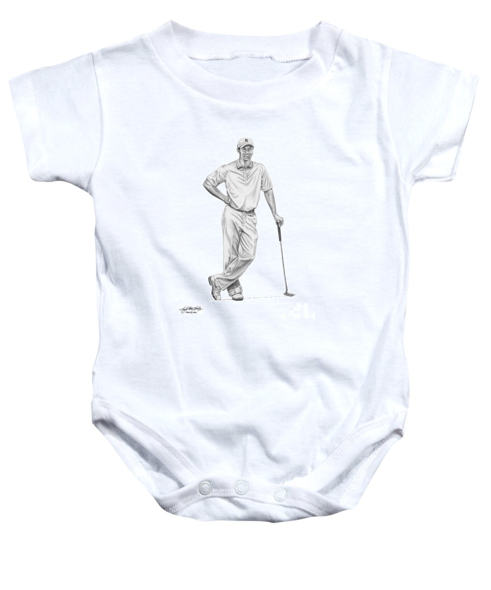 (tiger Woods) Baby Onesie featuring the drawing Tiger Woods-putter-murphy Elliott by Murphy Elliott