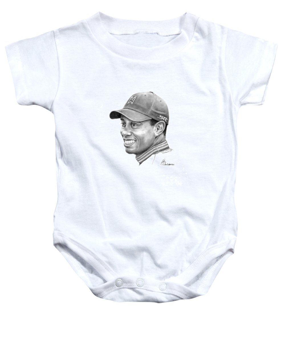 Tiger Woods Baby Onesie featuring the drawing Tiger Woods Smile by Murphy Elliott