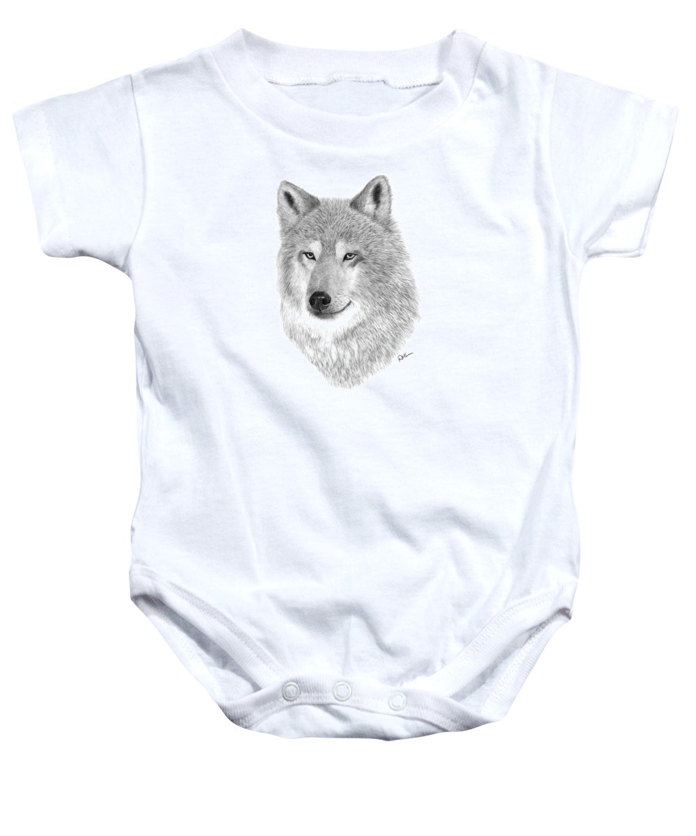 Wolf Drawing Baby Onesie featuring the drawing Timber Wolf by Rosanna Maria