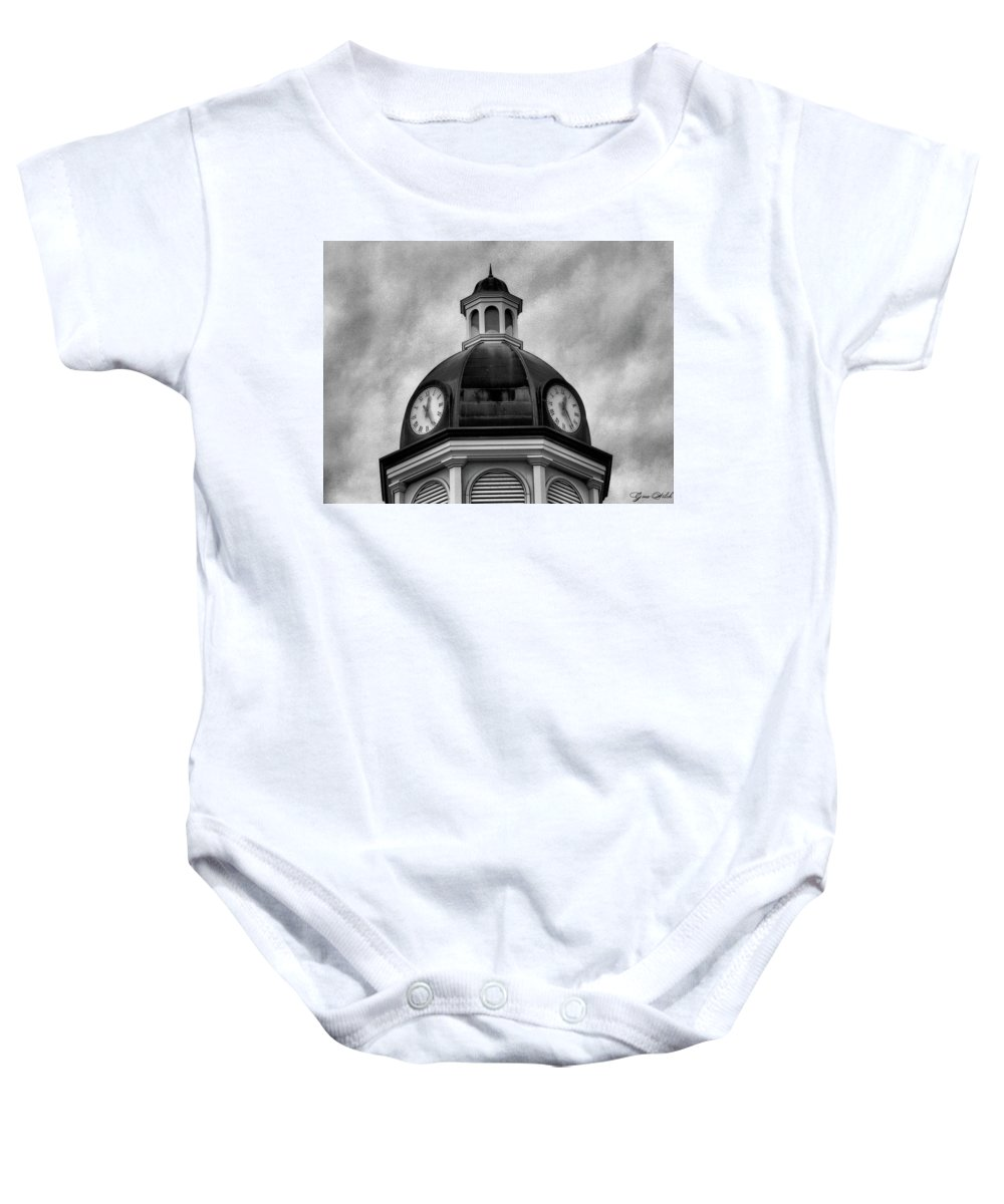 Clock Baby Onesie featuring the photograph Time IIi by Gina Welch