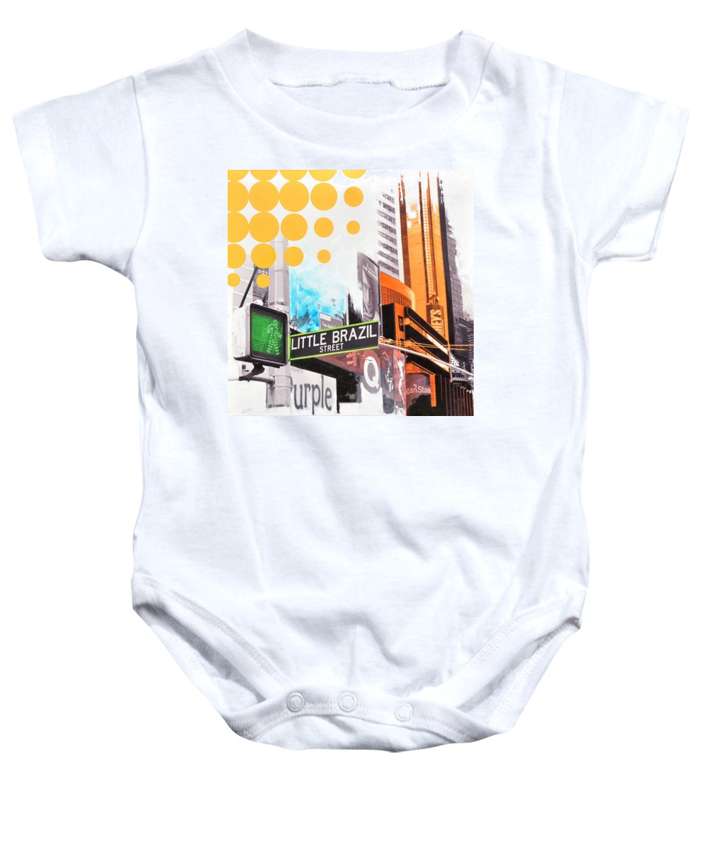 Ny Baby Onesie featuring the painting Times Square Little Brazil by Jean Pierre Rousselet