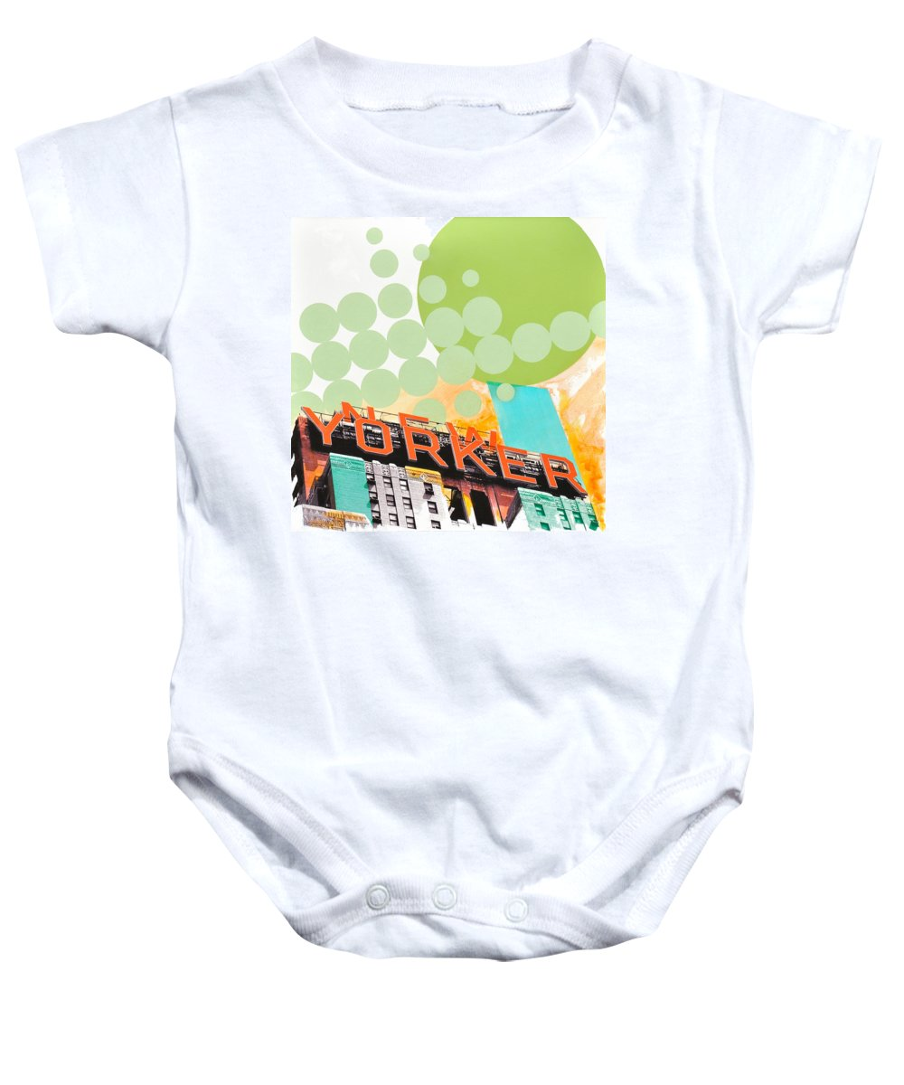 Ny Baby Onesie featuring the painting Times Square New Yorker by Jean Pierre Rousselet