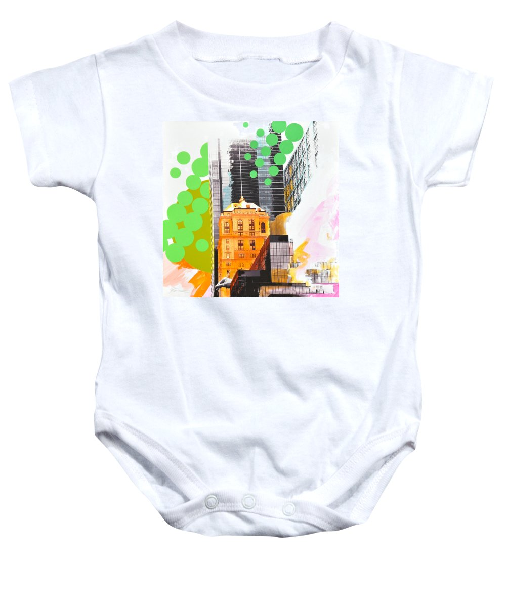 Ny Baby Onesie featuring the painting Times Square Ny Advertise by Jean Pierre Rousselet