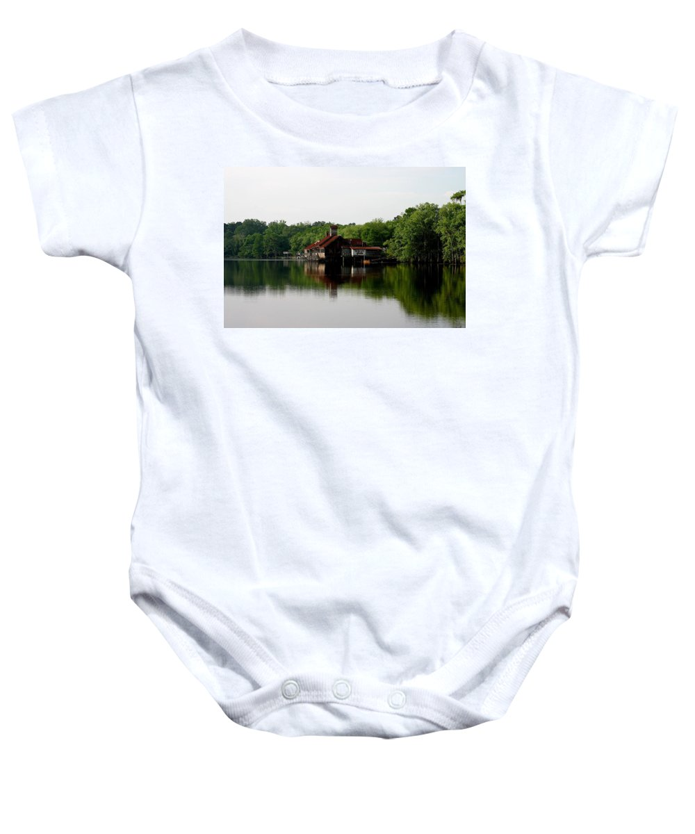 Louisiana Tin Lizzy Lizzys Tickfaw River Baby Onesie featuring the photograph Tin Lizzy Landing by Angie Covey