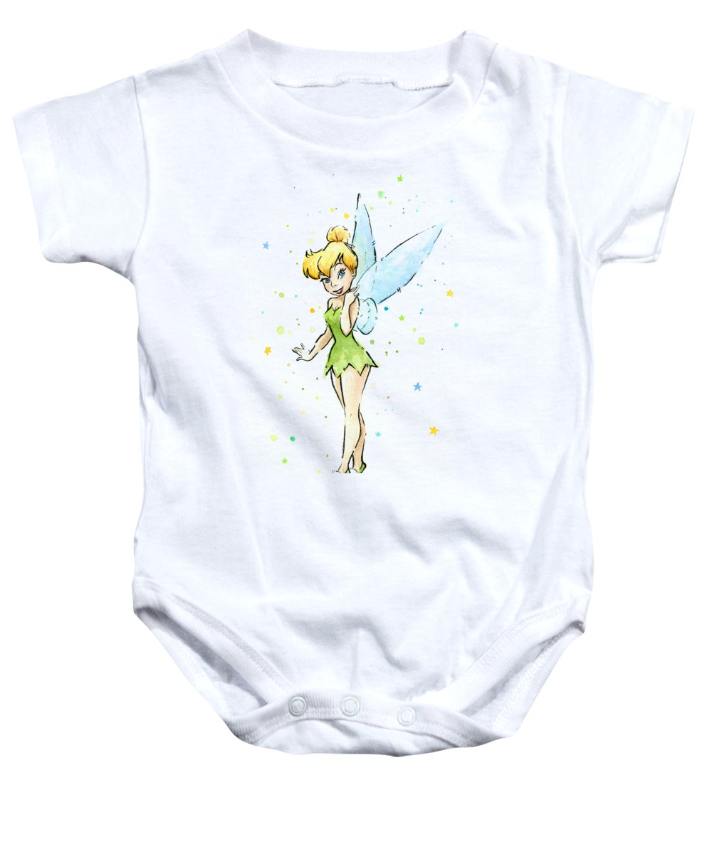 Tinker Baby Onesie featuring the painting Tinker Bell by Olga Shvartsur