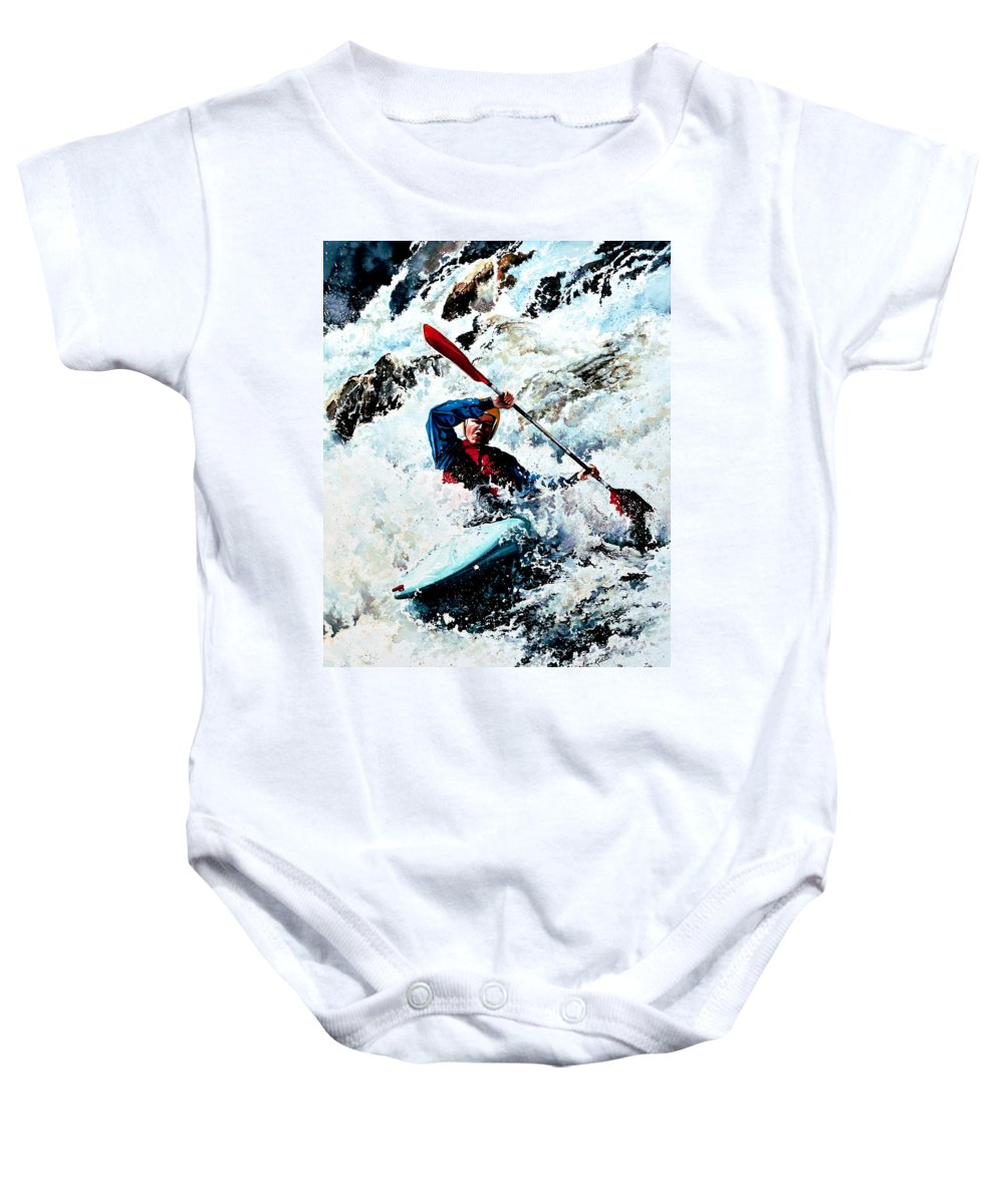 Sports Artist Baby Onesie featuring the painting To Conquer White Water by Hanne Lore Koehler