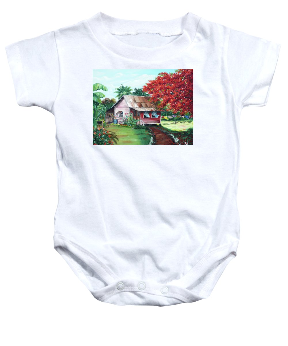House Painting Baby Onesie featuring the painting Tobago Country House by Karin Dawn Kelshall- Best